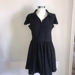 Sourpuss black button up dress small NwOT midi